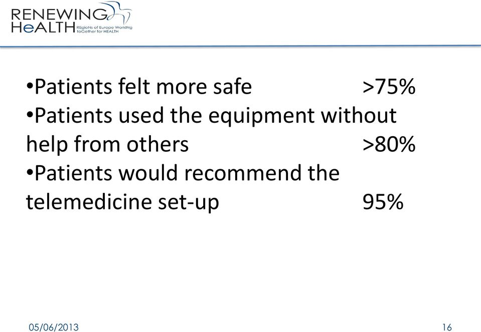 others >80% Patients would recommend