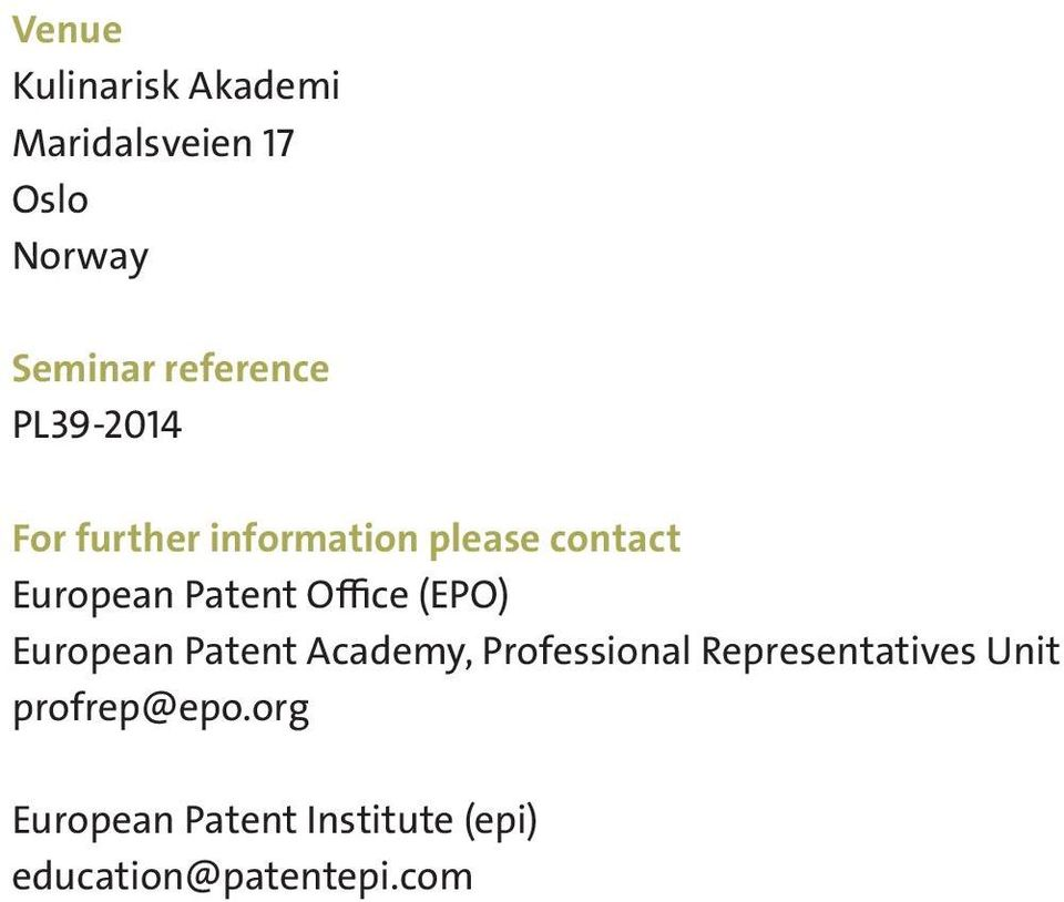 Patent Office (EPO) European Patent Academy, Professional