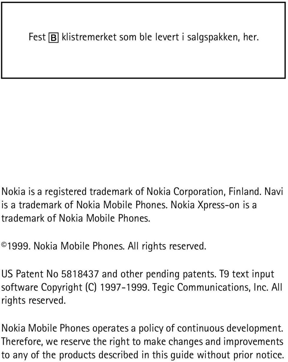 US Patent No 5818437 and other pending patents. T9 text input software Copyright (C) 1997-1999. Tegic Communications, Inc. All rights reserved.