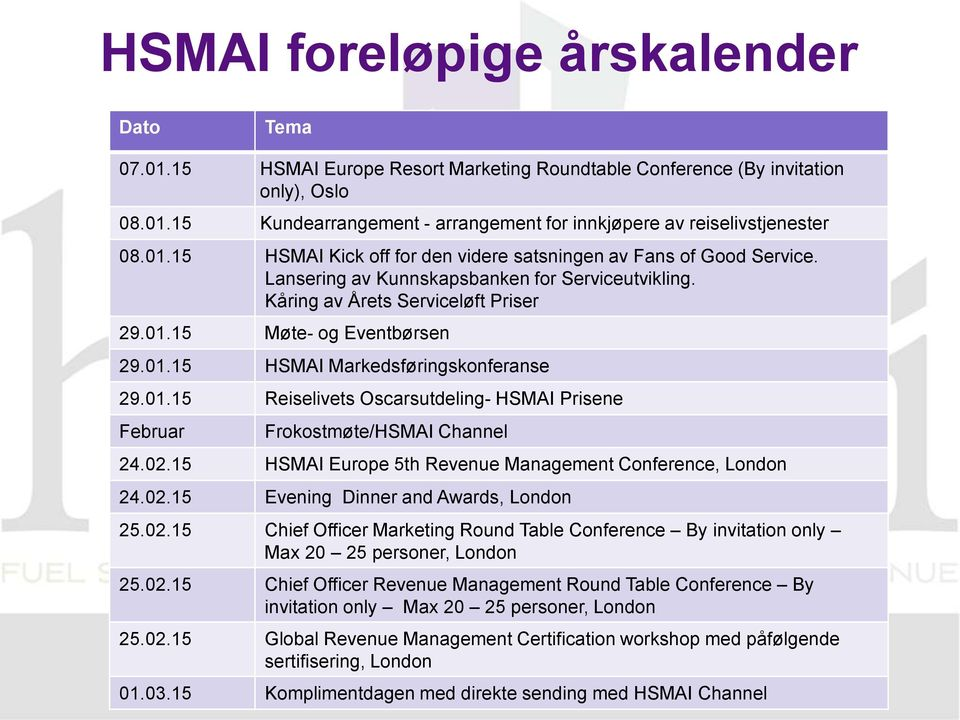 01.15 Reiselivets Oscarsutdeling- HSMAI Prisene Februar Frokostmøte/HSMAI Channel 24.02.15 HSMAI Europe 5th Revenue Management Conference, London 24.02.15 Evening Dinner and Awards, London 25.02.15 Chief Officer Marketing Round Table Conference By invitation only Max 20 25 personer, London 25.