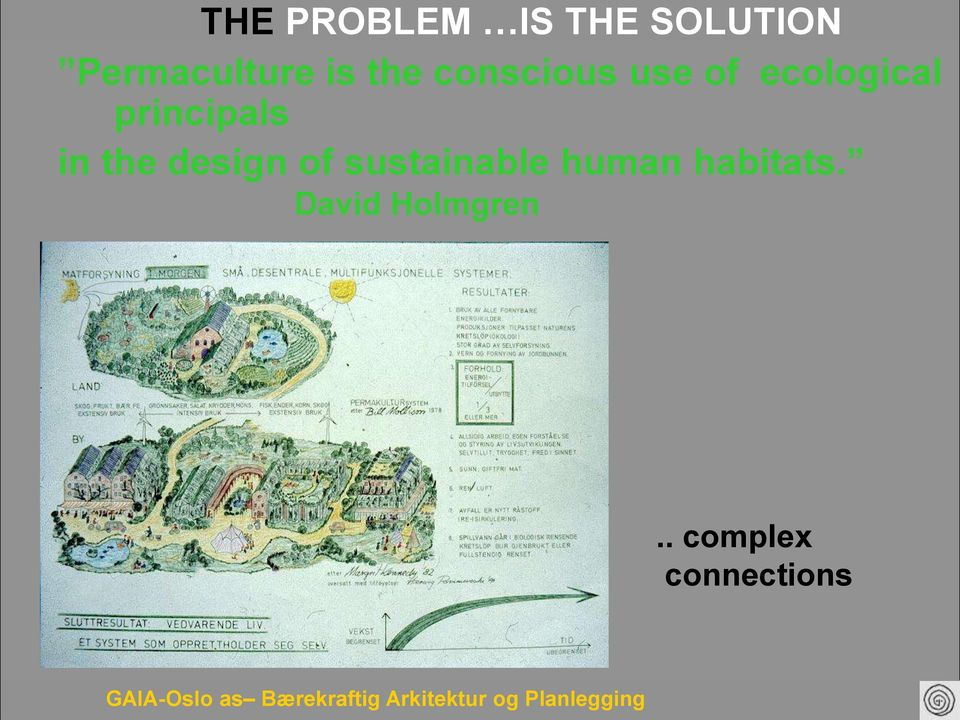 of sustainable human habitats. David Holmgren.