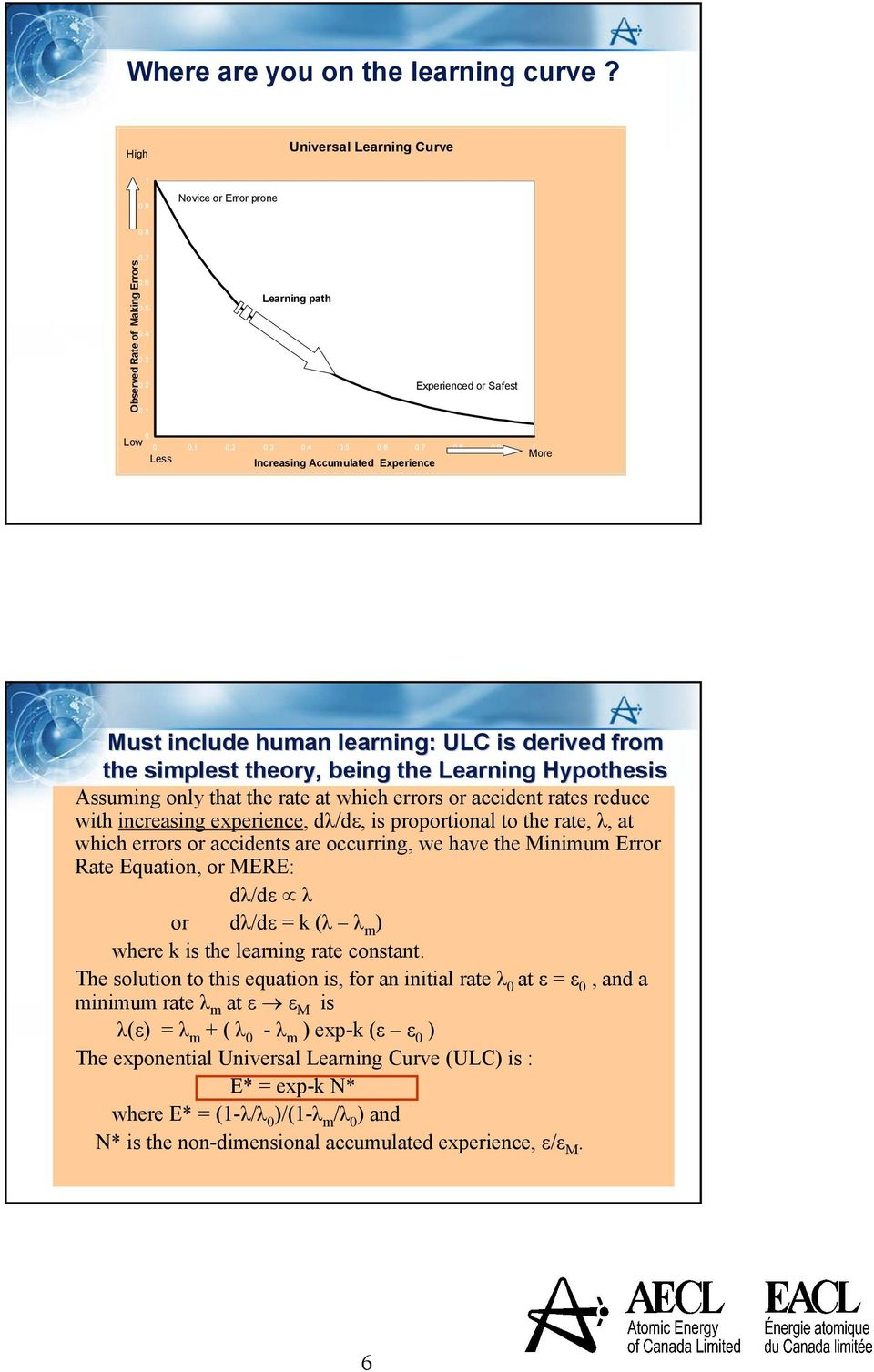 9 1 More Less Increasing Accumulated Experience Must include human learning: ULC is derived from the simplest theort heory, being the Learning Hypothesis Assuming only that the rate at which errors