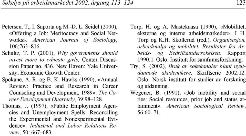 Hawks (1990), «Annual Review: Practice and Research in Career Counseling and Development, 1989». The Career Development Quarterly, 39:98 128. Thomas, J.