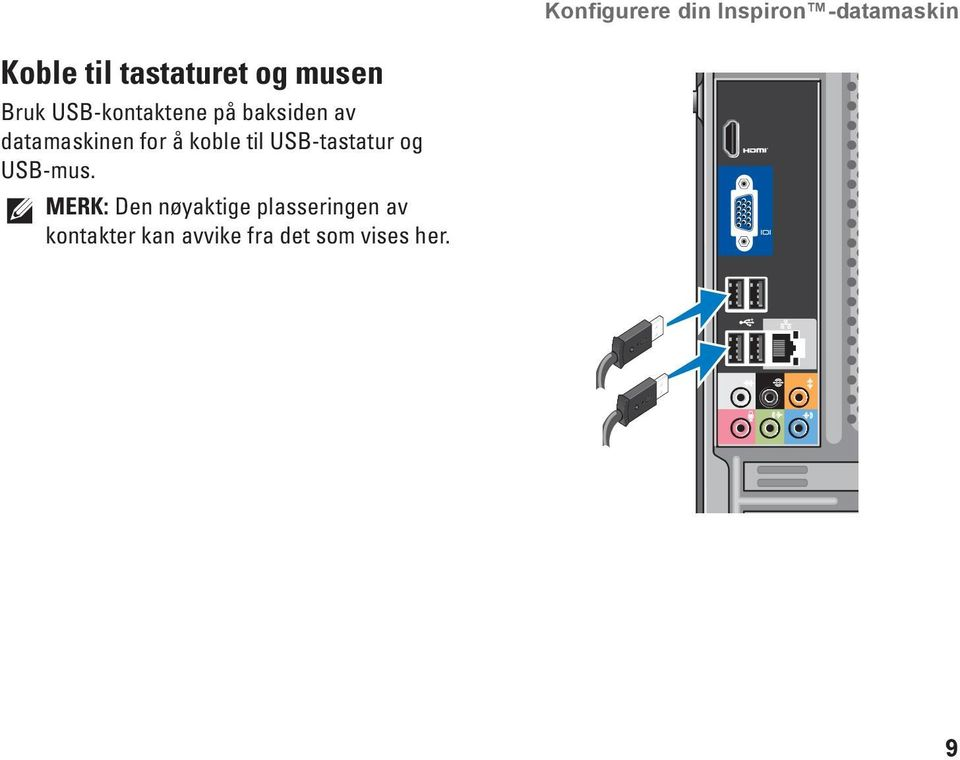 for å koble til USB-tastatur og USB-mus.
