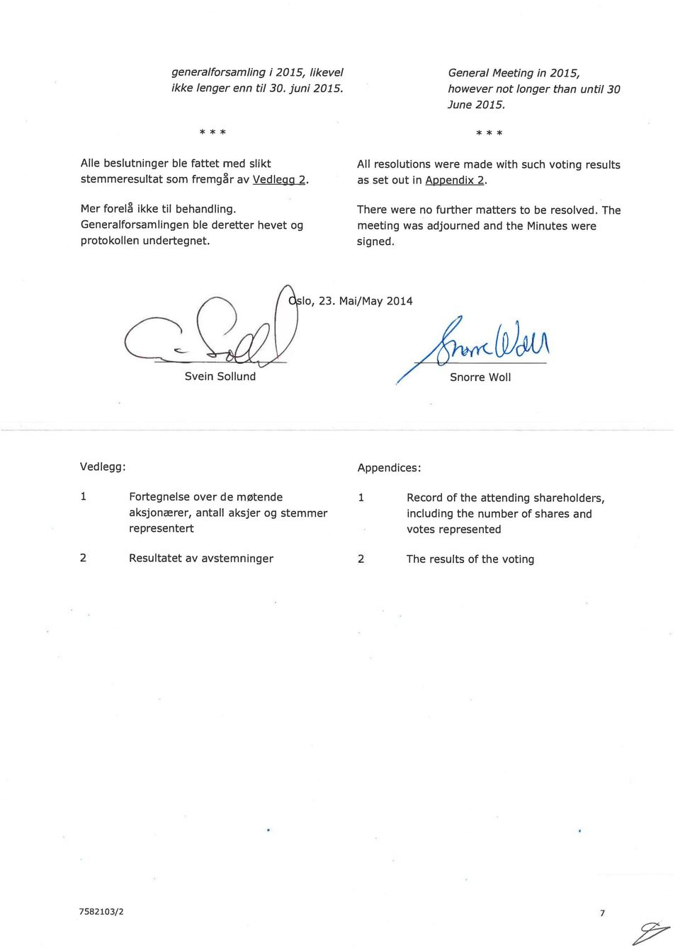 Generalforsamlingen ble deretter hevet og protokollen undertegnet. There were no further matters to be resolved. The meeting was adjourned and the Minutes were signed. 23.