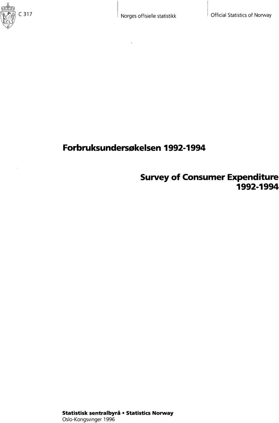 99-9Ø Survey of Consumer Expenditure 99-994