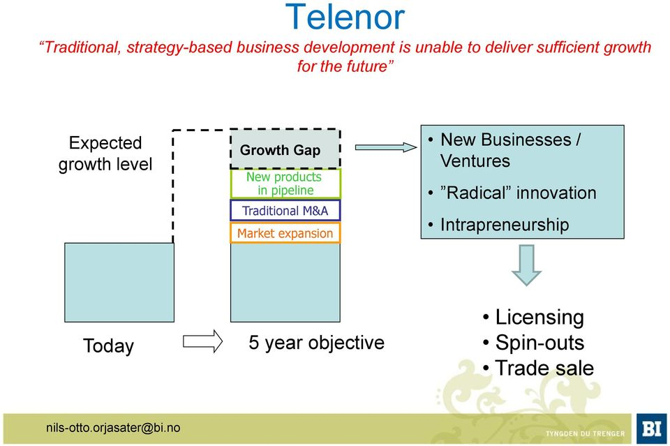 pipeline Traditional M&A Market expansion New Businesses / Ventures Radical