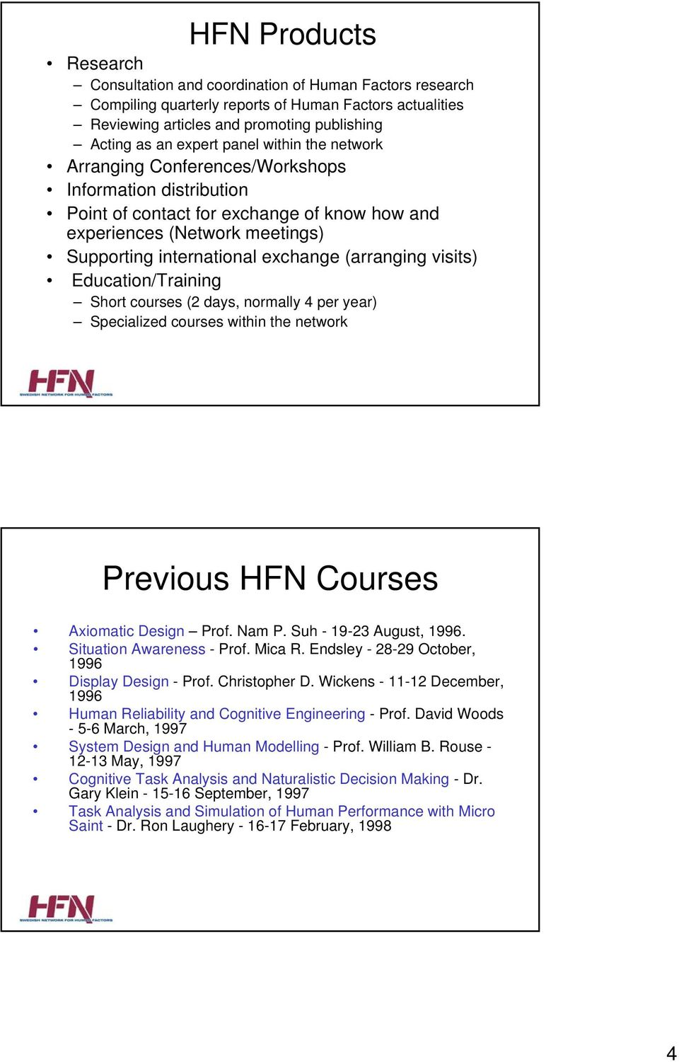 (arranging visits) Education/Training Short courses (2 days, normally 4 per year) Specialized courses within the network Previous HFN Courses Axiomatic Design Prof. Nam P. Suh - 19-23 August, 1996.