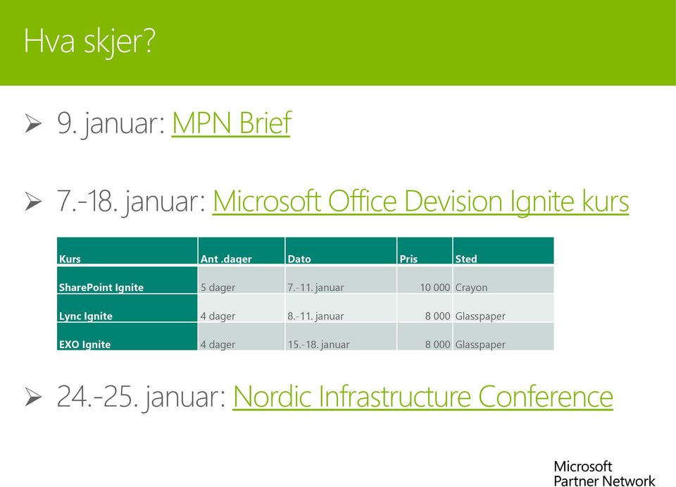 dager Dato Pris Sted SharePoint Ignite 5 dager 7.-11.