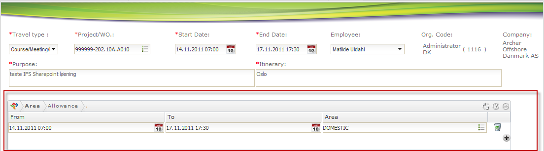 Travel Expense Details Reiseregning Detaljer Define Start and end dates with time (calendar will display when clikcing in the dates field) Define Purpose of travel Define travel route.