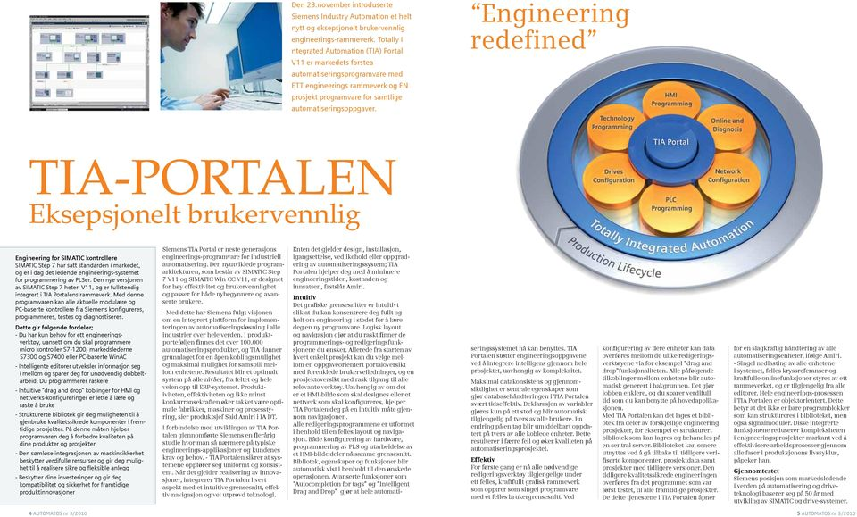 Engineering redefined TIA-PORTALEN Eksepsjonelt brukervennlig Engineering for SIMATIC kontrollere SIMATIC Step 7 har satt standarden i markedet, og er i dag det ledende engineerings-systemet for