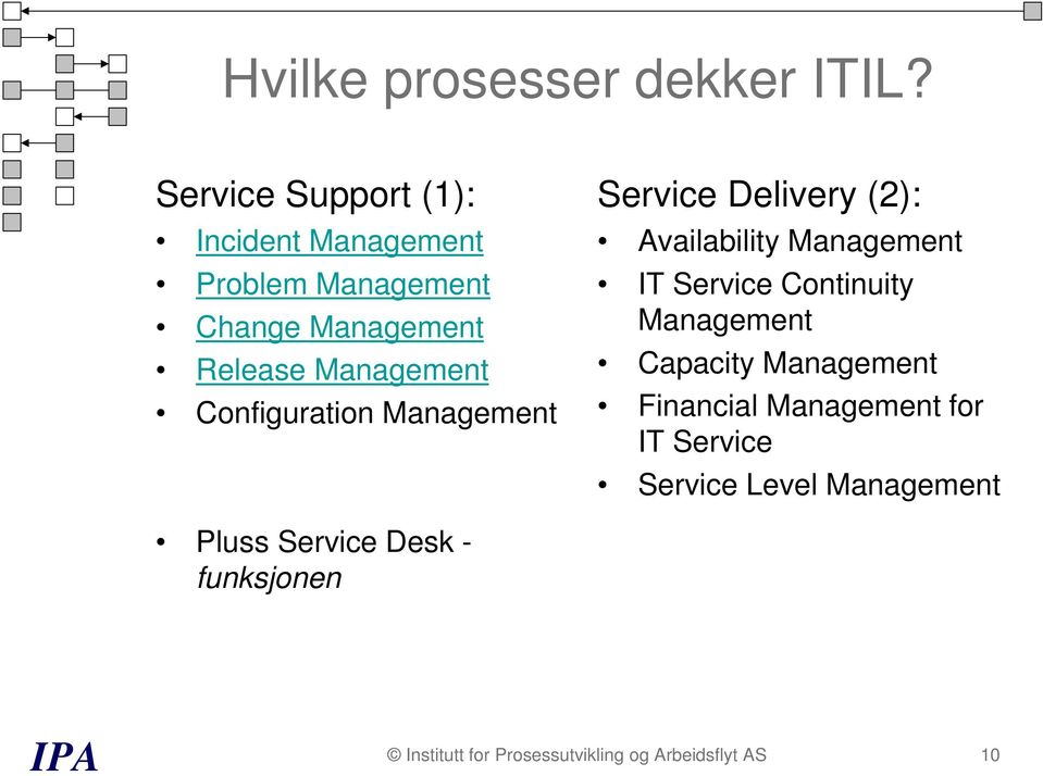 Configuration Management Service Delivery (2): Availability Management IT Service Continuity