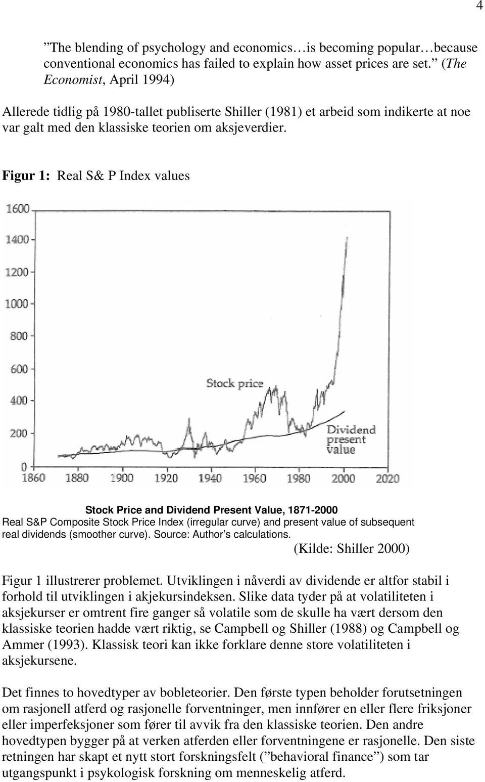 Figur 1: Real S& P Index values Stock Price and Dividend Present Value, 1871-2000 Real S&P Composite Stock Price Index (irregular curve) and present value of subsequent real dividends (smoother