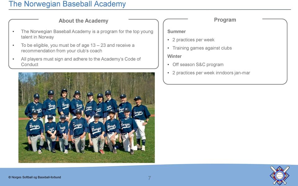your club s coach All players must sign and adhere to the Academy s Code of Conduct Program Summer