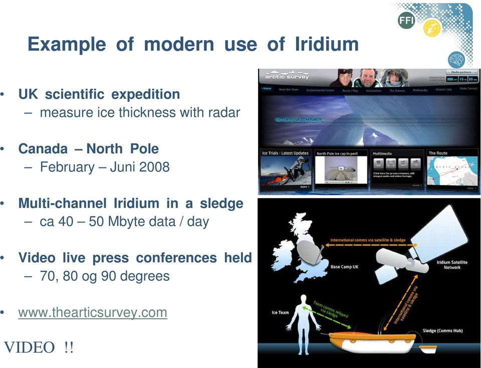 Multi-channel Iridium in a sledge ca 40 50 Mbyte data / day Video