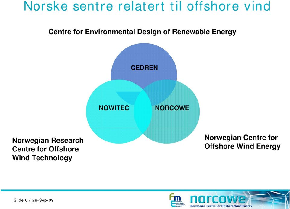 NORCOWE Norwegian Research Centre for Offshore Wind