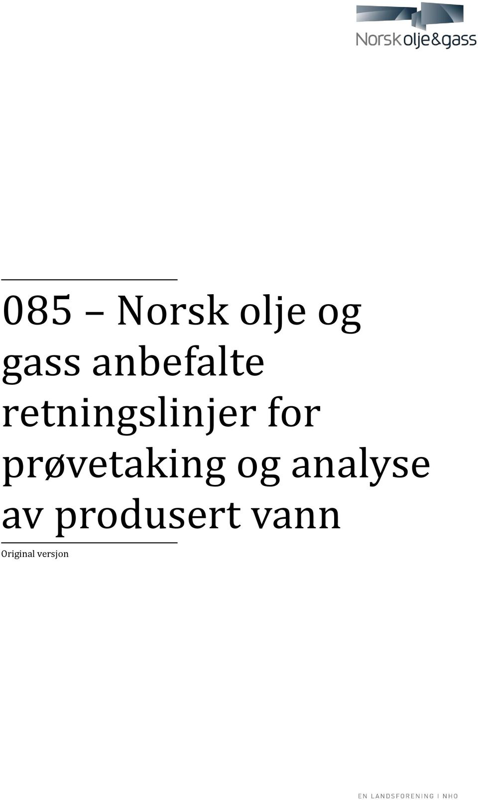 for prøvetaking og analyse