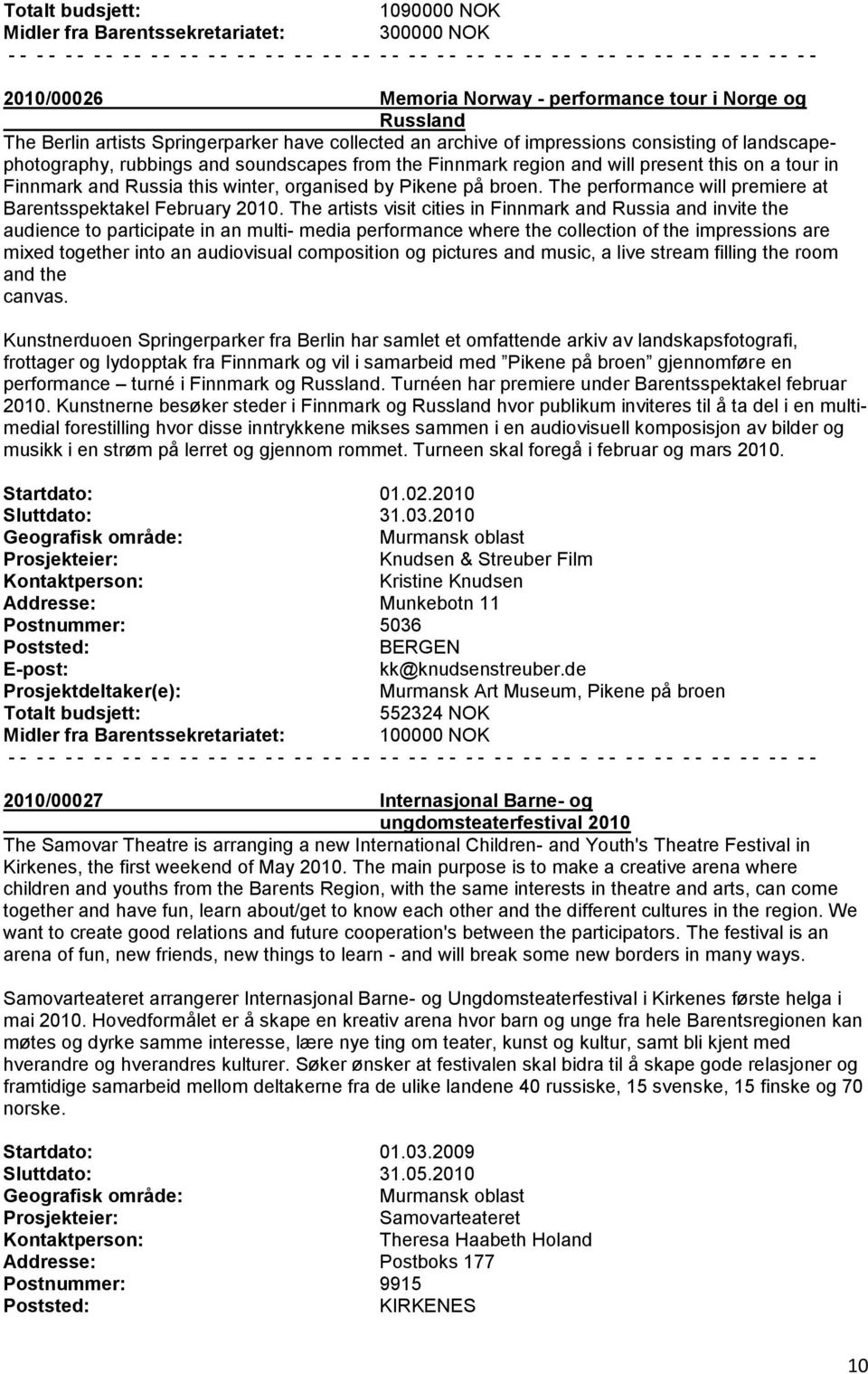 The performance will premiere at Barentsspektakel February 2010.
