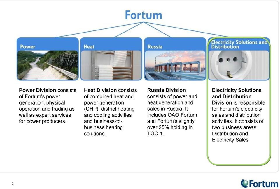 Russia Division consists of power and heat generation and sales in Russia. It includes OAO Fortum and Fortum s slightly over 25% holding in TGC-1.