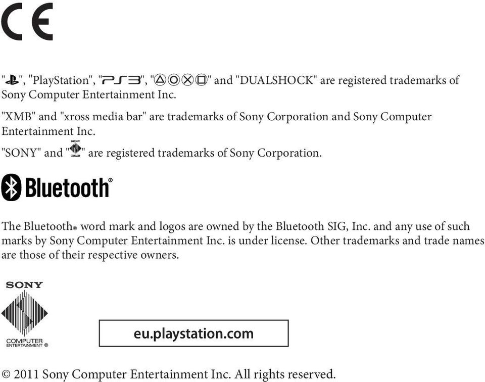 """SONY"" and "" "" are registered trademarks of Sony Corporation. The Bluetooth word mark and logos are owned by the Bluetooth SIG, Inc."
