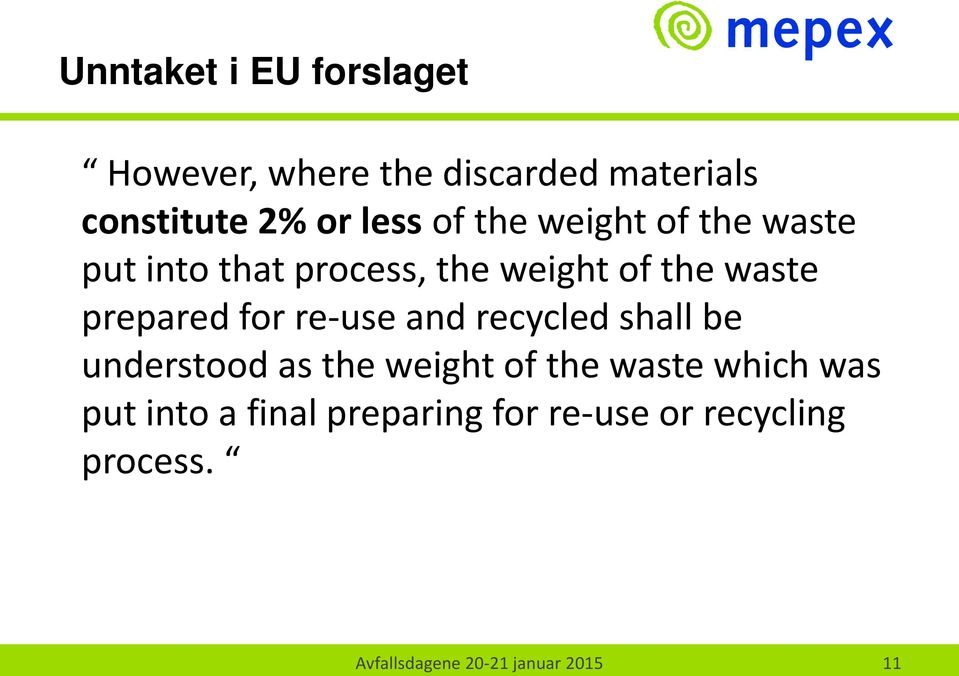 for re-use and recycled shall be understood as the weight of the waste which was put