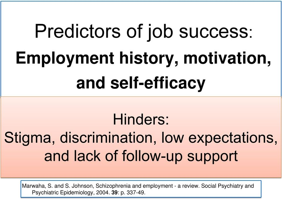 Johnson, Schizophrenia and employment - a review.