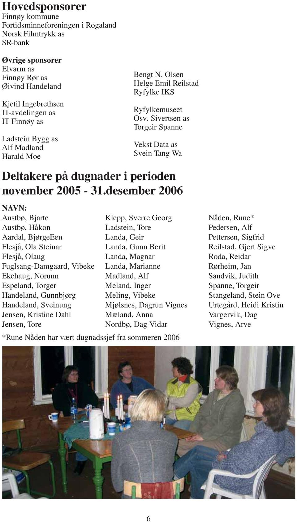 Sivertsen as Torgeir Spanne Vekst Data as Svein Tang Wa Deltakere på dugnader i perioden november 2005-31.