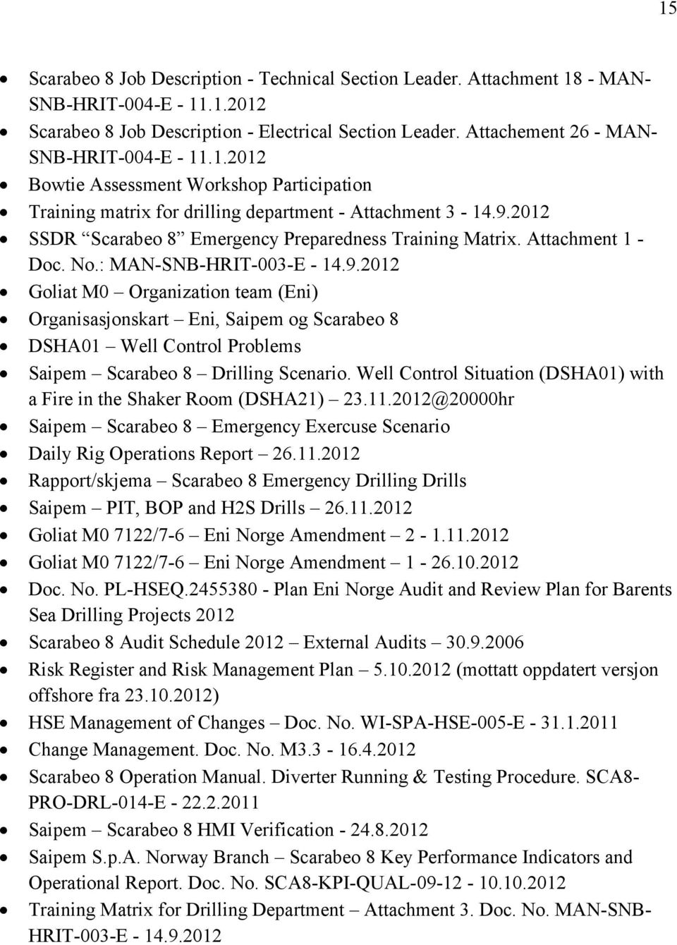 2012 SSDR Scarabeo 8 Emergency Preparedness Training Matrix. Attachment 1 - Doc. No.: MAN-SNB-HRIT-003-E - 14.9.