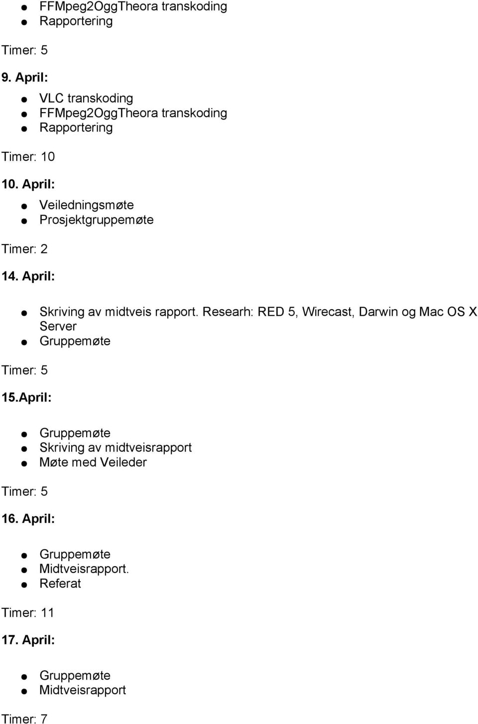 Researh: RED 5, Wirecast, Darwin og Mac OS X Server Gruppemøte 15.