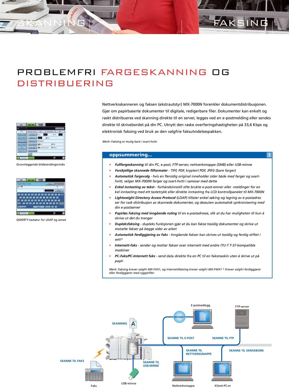 Documents Dokumenter can be kan easily enkelt and og raskt quickly distribueres distributed ved by skanning scanning direkte directly til to en a server, location, legges ved attached en