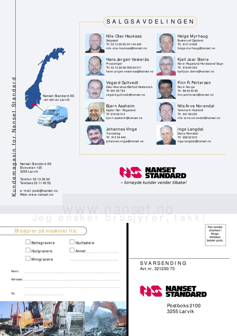 no Kundemagasin for Nanset Standard Nanset Standard AS Elveveien 135 3255 Larvik Telefon 33 13 26 00 Telefaks 33 11 45 52 Nanset Standard AS en del av Larvik e-mail: post@nanset.