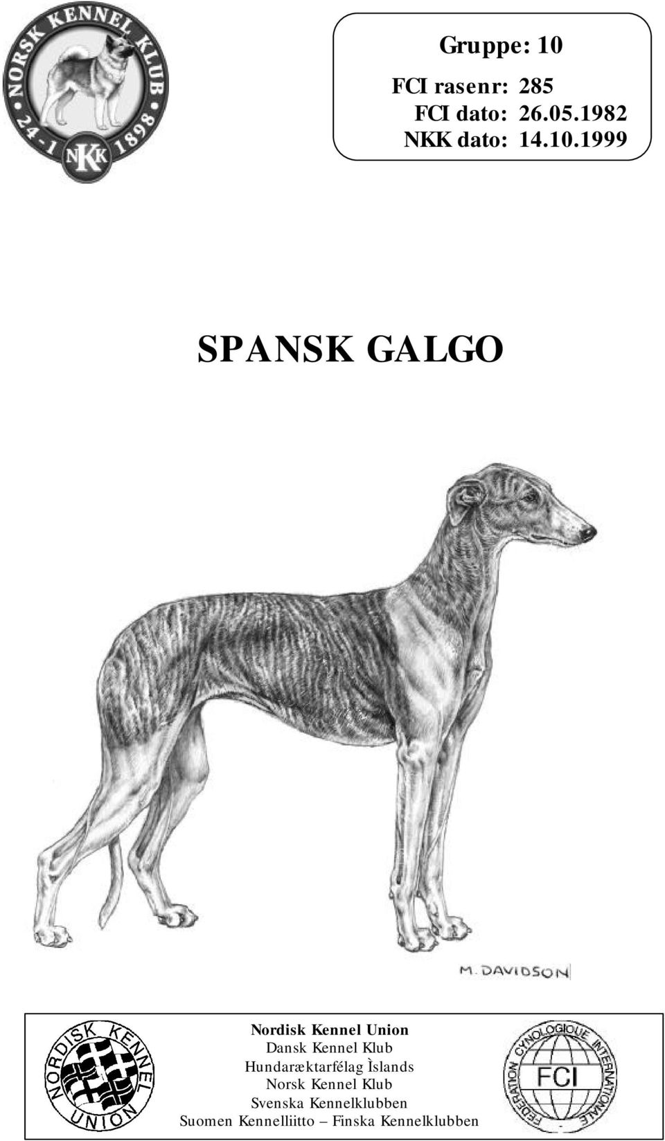 1999 SPANSK GALGO Nordisk Kennel Union Dansk Kennel Klub