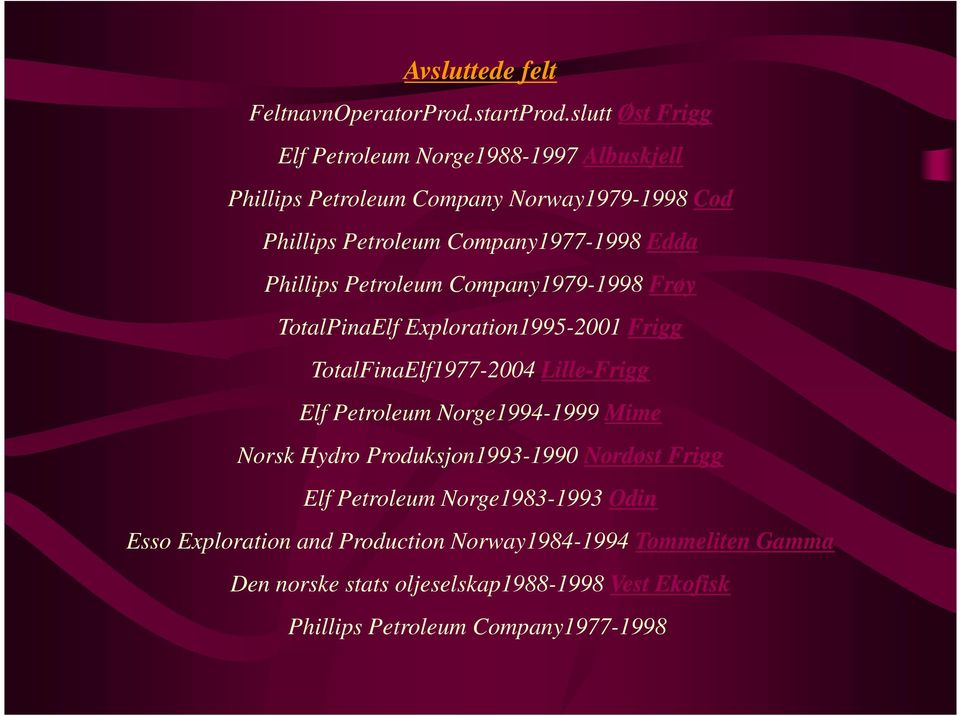 Edda Phillips Petroleum Company1979-1998 Frøy TotalPinaElf Exploration1995-2001 Frigg TotalFinaElf1977-2004 Lille-Frigg Elf Petroleum