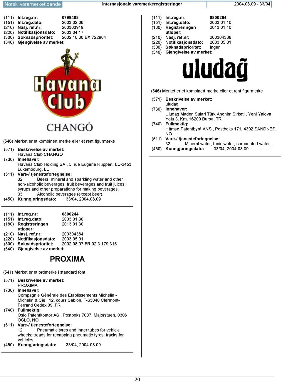01 (300) Søknadsprioritet: Ingen Havana Club CHANGÓ Havana Club Holding SA, 5, rue Eugène Ruppert, LU-2453 Luxembourg, LU 32 Beers; mineral and sparkling water and other non-alcoholic beverages;