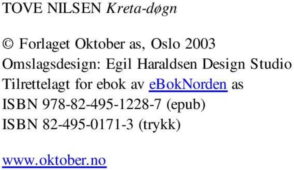 Tilrettelagt for ebok av eboknorden as ISBN