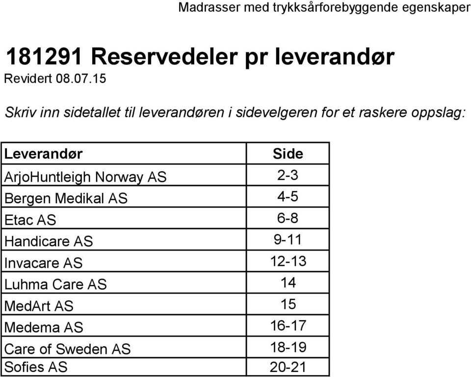 Leverandør Side ArjoHuntleigh Norway AS 2-3 Bergen Medikal AS 4-5 Etac AS 6-8