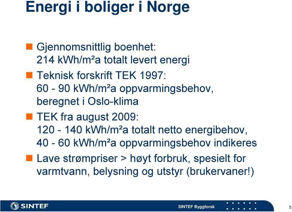 2009: 120-140 kwh/m²a totalt netto energibehov, 40-60 kwh/m²a oppvarmingsbehov indikeres