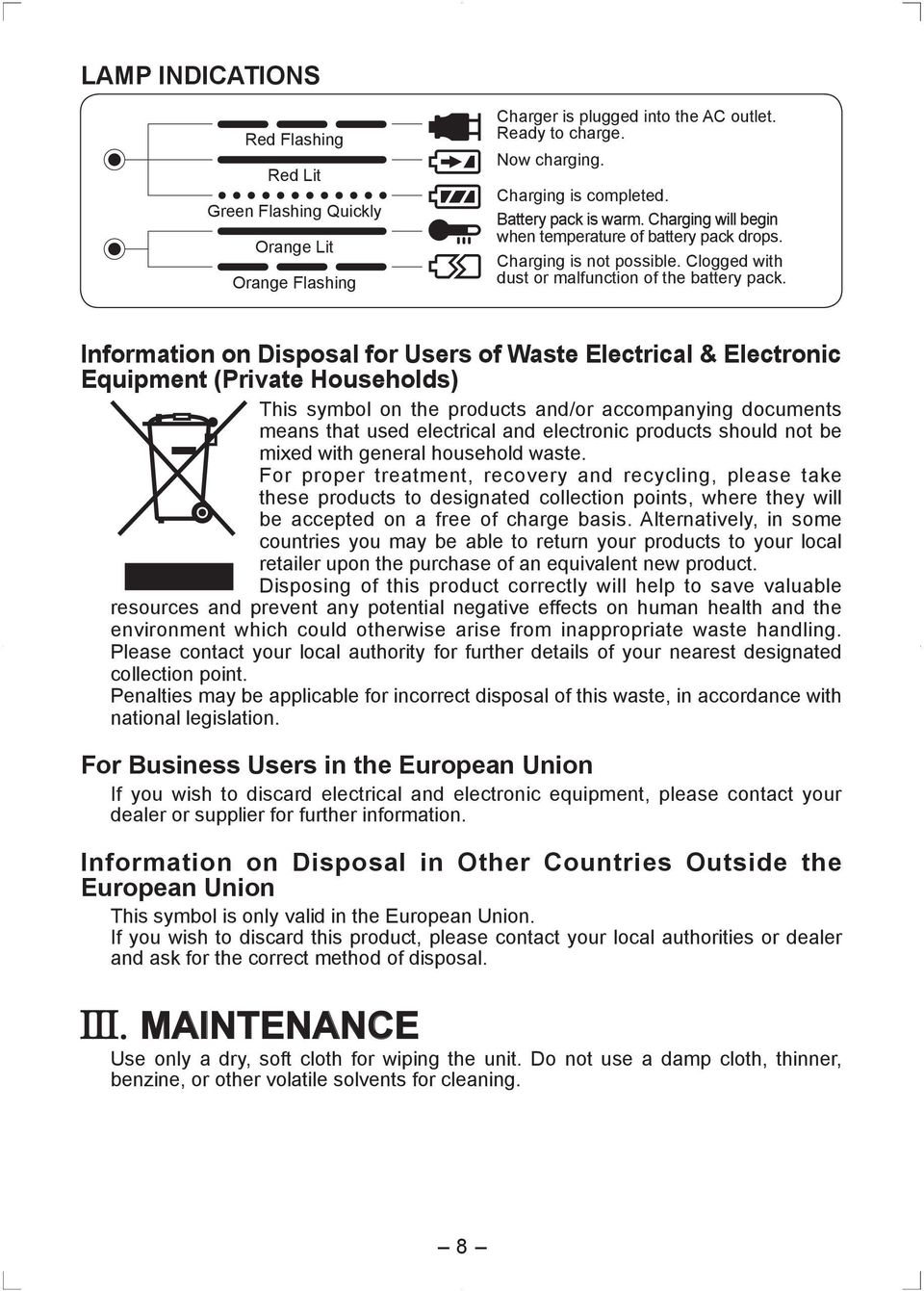 Information on Disposal for Users of Waste Electrical & Electronic Equipment (Private Households) This symbol on the products and/or accompanying documents means that used electrical and electronic