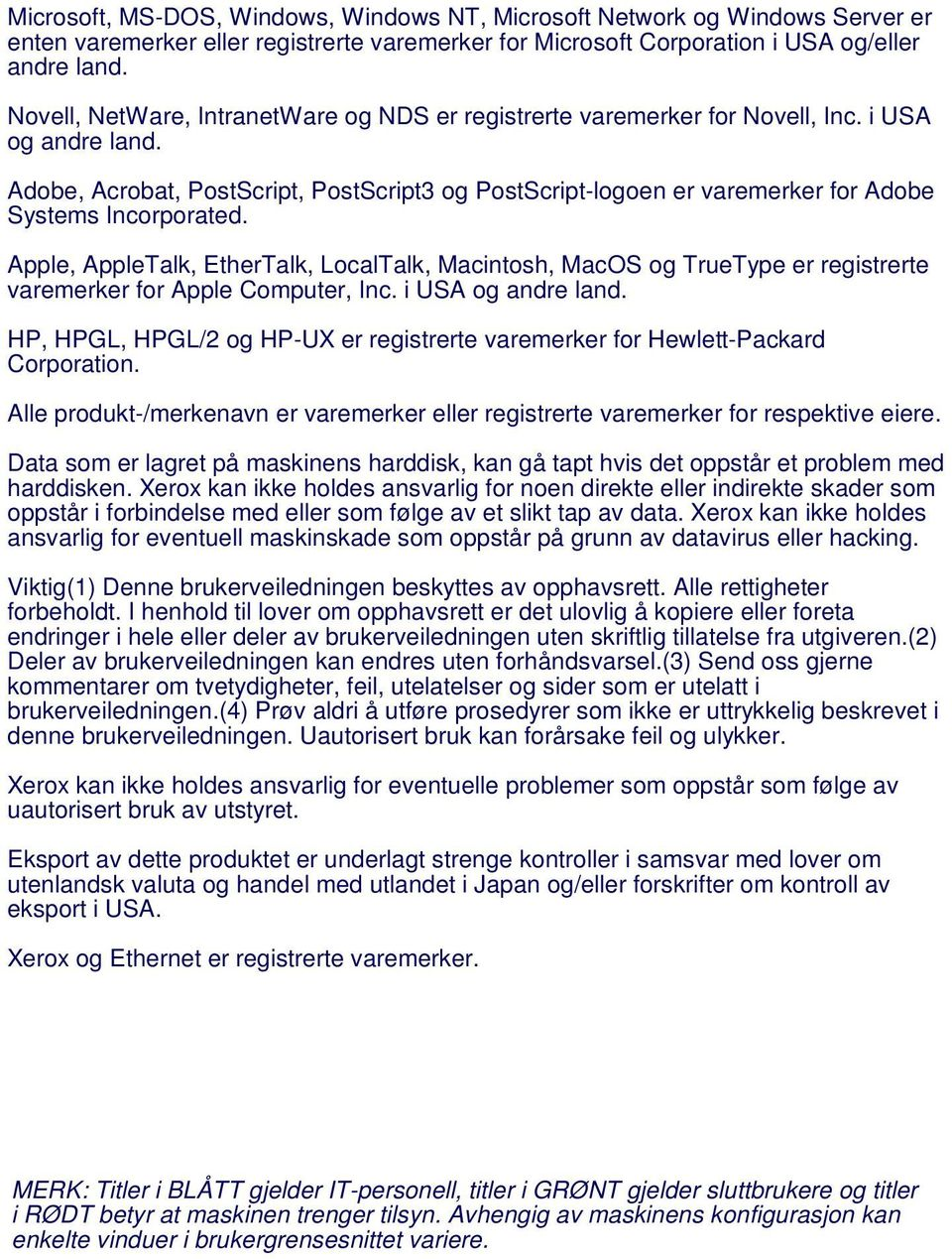 Adobe, Acrobat, PostScript, PostScript3 og PostScript-logoen er varemerker for Adobe Systems Incorporated.