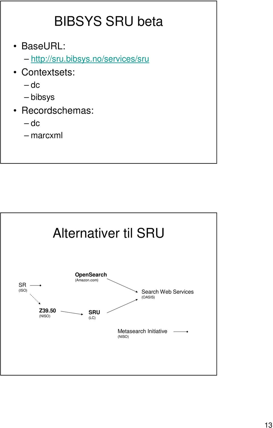 marcxml Alternativer til SRU SR (ISO) OpenSearch (Amazon.