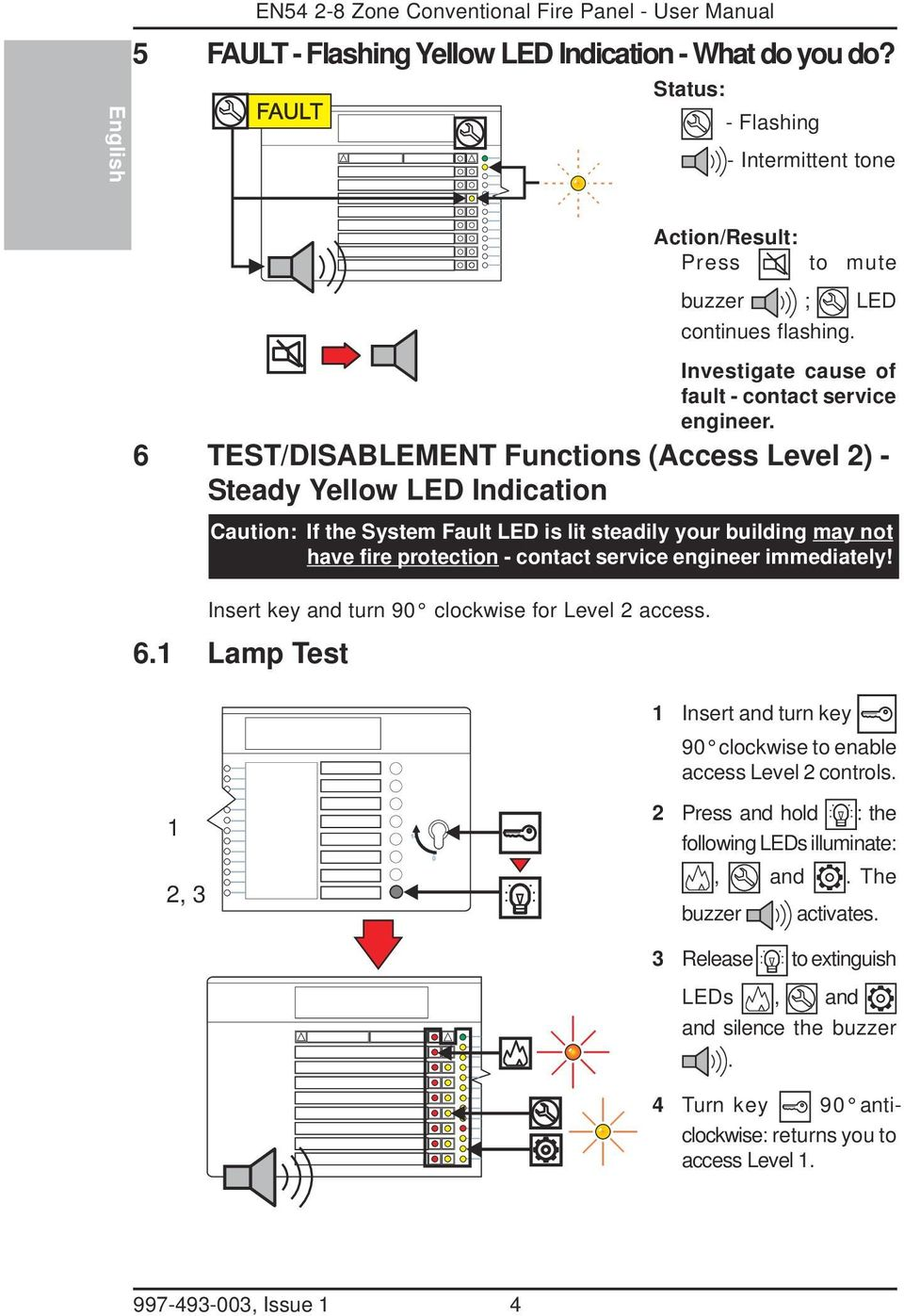 6 TEST/DISABLEMENT Functions (Access Level ) - Steady Yellow LED Indication Caution: If the System Fault LED is lit steadily your building may not have fire protection - contact service engineer