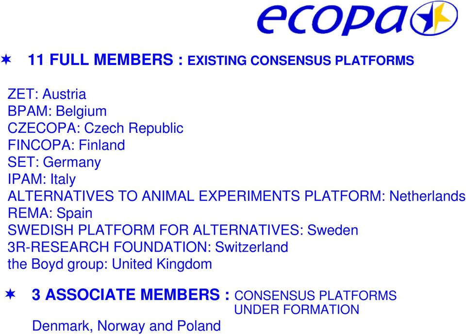 REMA: Spain SWEDISH PLATFORM FOR ALTERNATIVES: Sweden 3R-RESEARCH FOUNDATION: Switzerland the Boyd
