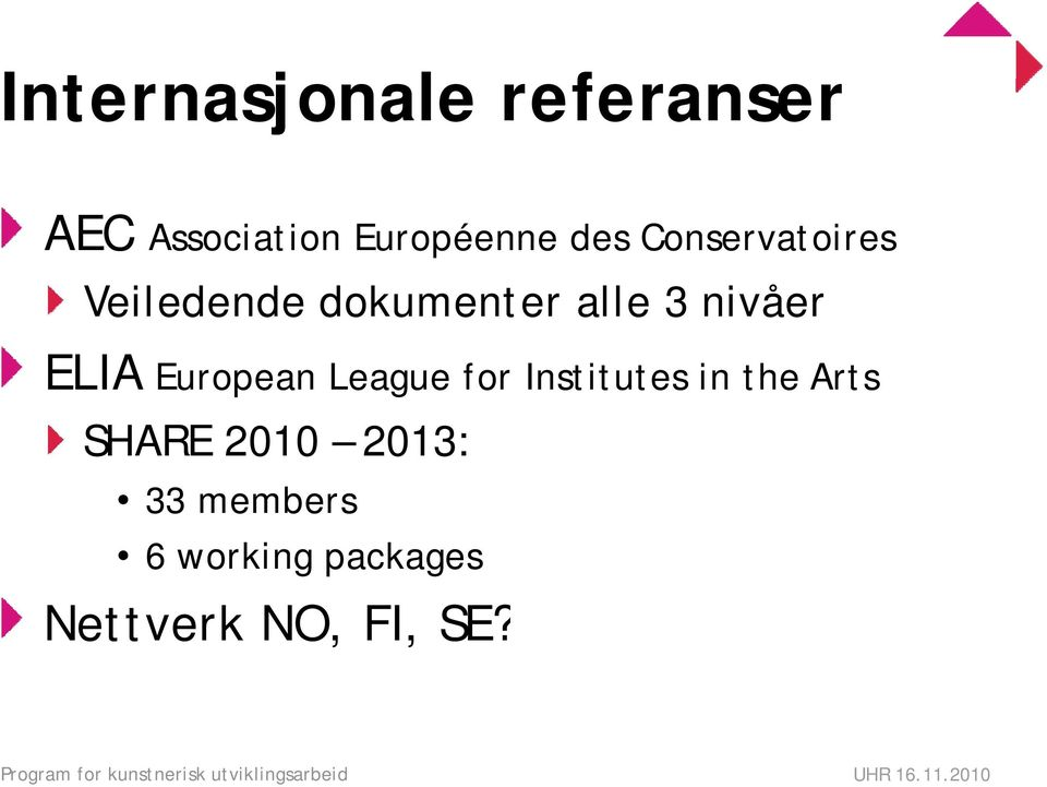 League for Institutes in the Arts SHARE 21 213: 33 members 6 working