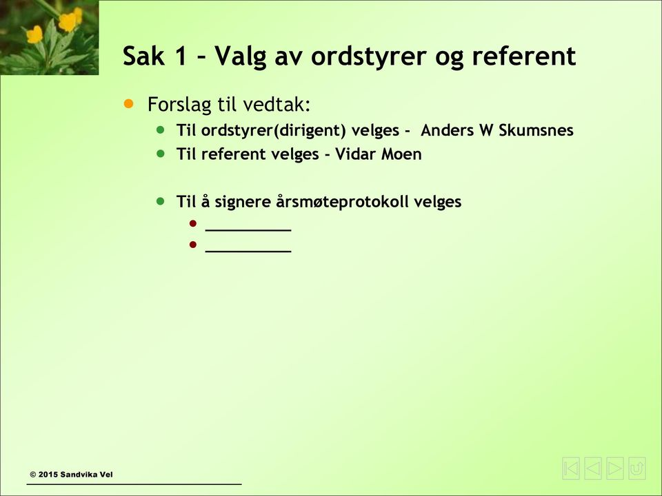 Anders W Skumsnes Til referent velges -