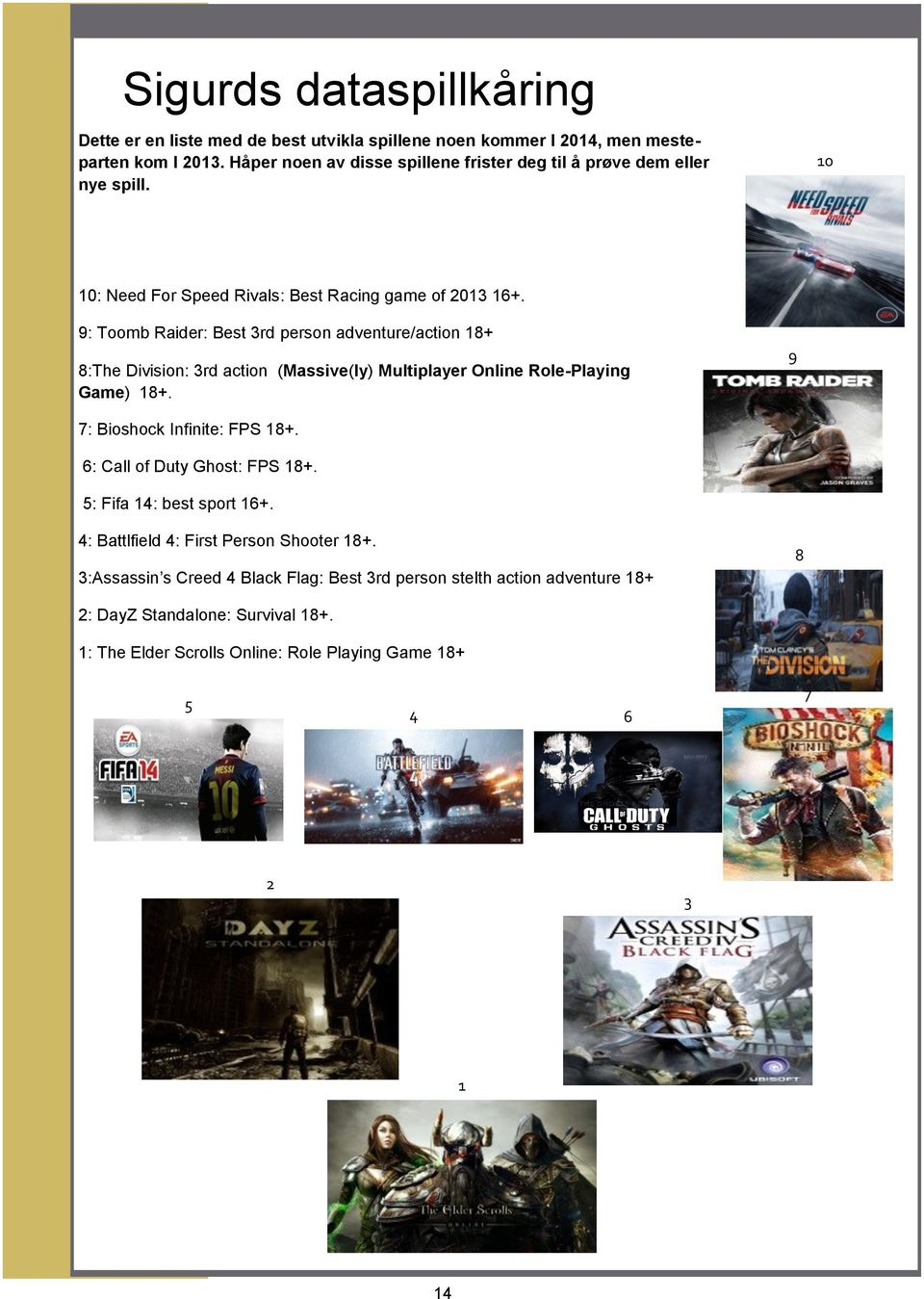 9: Toomb Raider: Best 3rd person adventure/action 18+ 8:The Division: 3rd action (Massive(ly) Multiplayer Online Role-Playing Game) 18+. 9 7: Bioshock Infinite: FPS 18+.