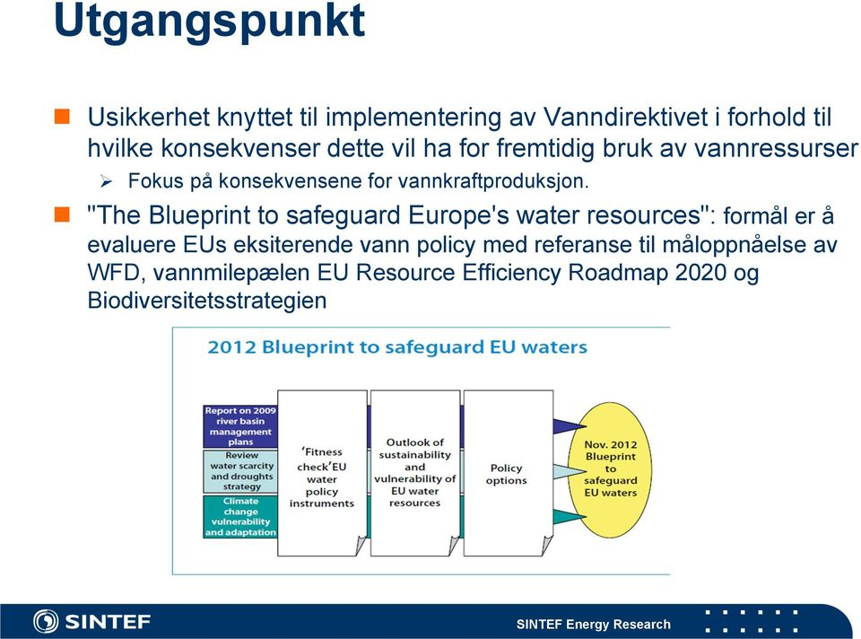 """The Blueprint to safeguard Europe's water resources"": formål er å evaluere EUs eksiterende vann policy"