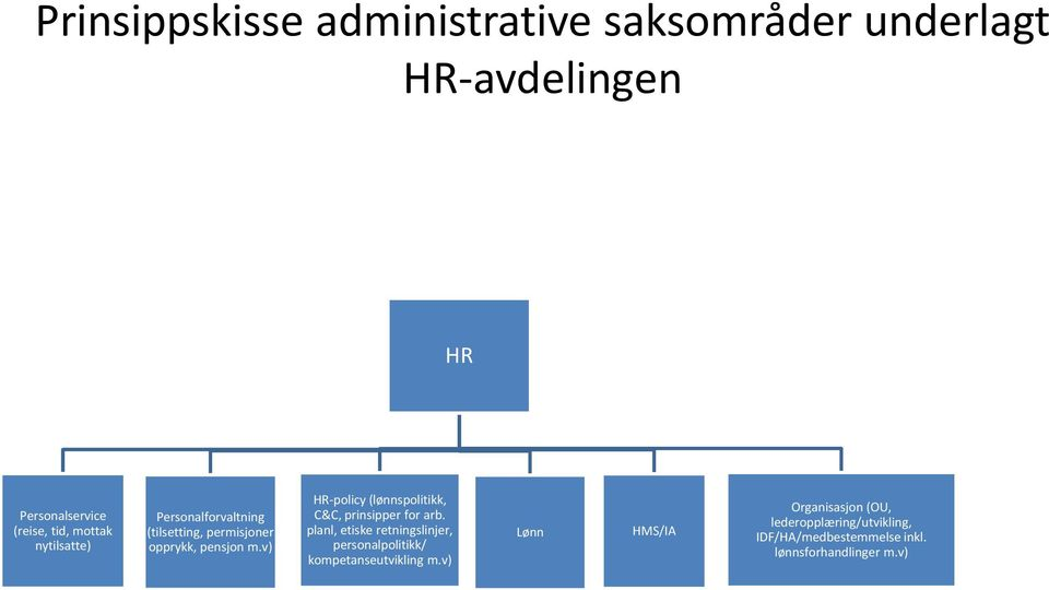 v) HR-policy (lønnspolitikk, C&C, prinsipper for arb.