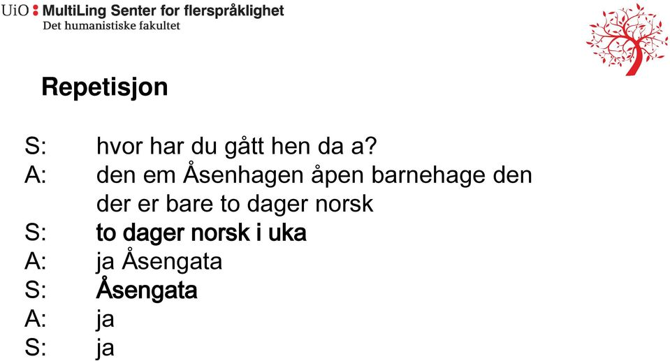 er bare to dager norsk S: to dager norsk i