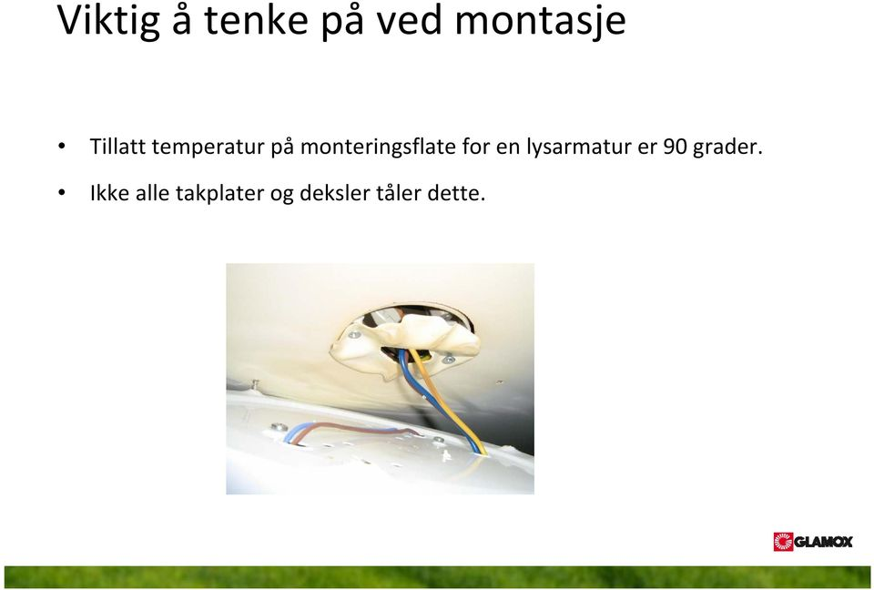 monteringsflate for en lysarmatur