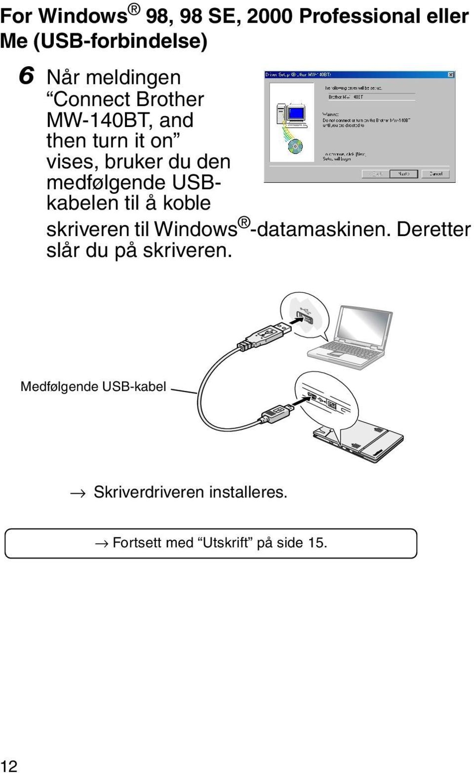 USBkabelen til å koble skriveren til Windows -datamaskinen.